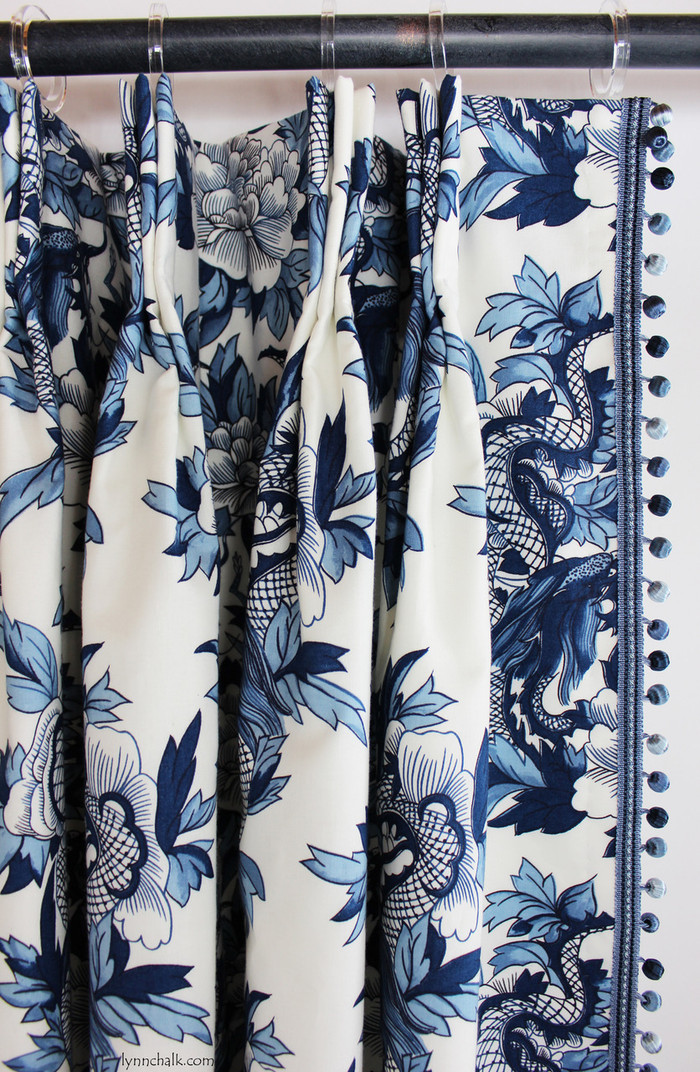 Custom Drapes by Lynn Chalk in Ralph Lauren Nanking Original with Samuel and Sons Aurelia Trim in Sapphire