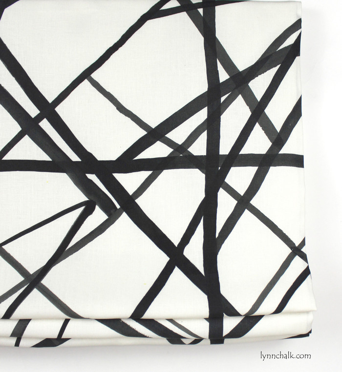 Kelly Wearstler Channels Custom Roman Shades in Ebony/Ivory