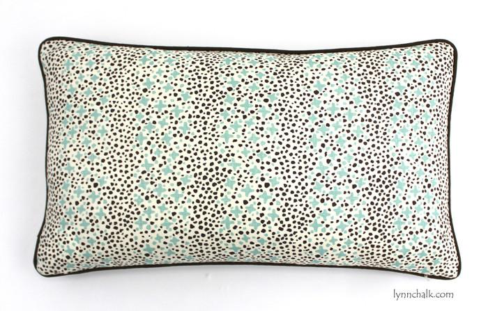 Custom 14 X 24 Pillows in Quadrille Jacks II Green Brown Dots on Tint with welting in Robert Allen Kilrush II Java