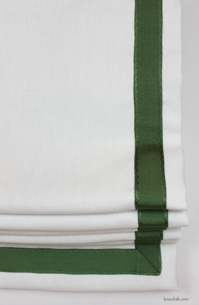 """Roman Shade in Kravet Dublin Linen in Bleach with Samuel and Son 1.5 inches Sabine Border Trim Set in 1"""" from Edge"""