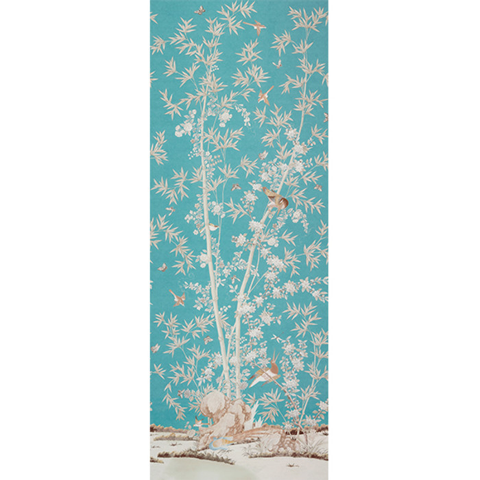 """Miles Redd for Schumacher Brighton Pavilion in Peacock (Priced and Sold by the 144"""" Full Length Panel)"""