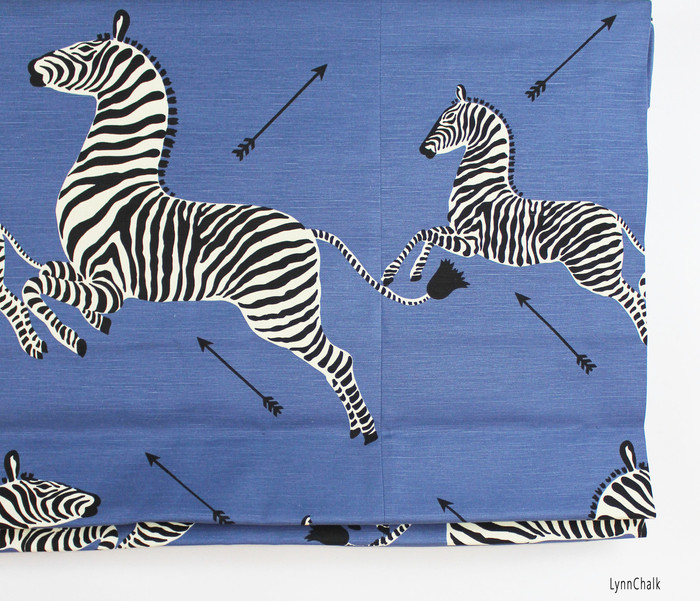Scalamandre Zebras Roman Shades (Shown in Denim-comes in several colors)
