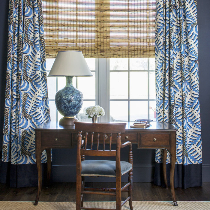 Quadrille Alan Campbell Ferns Bedroom Roman Shades In