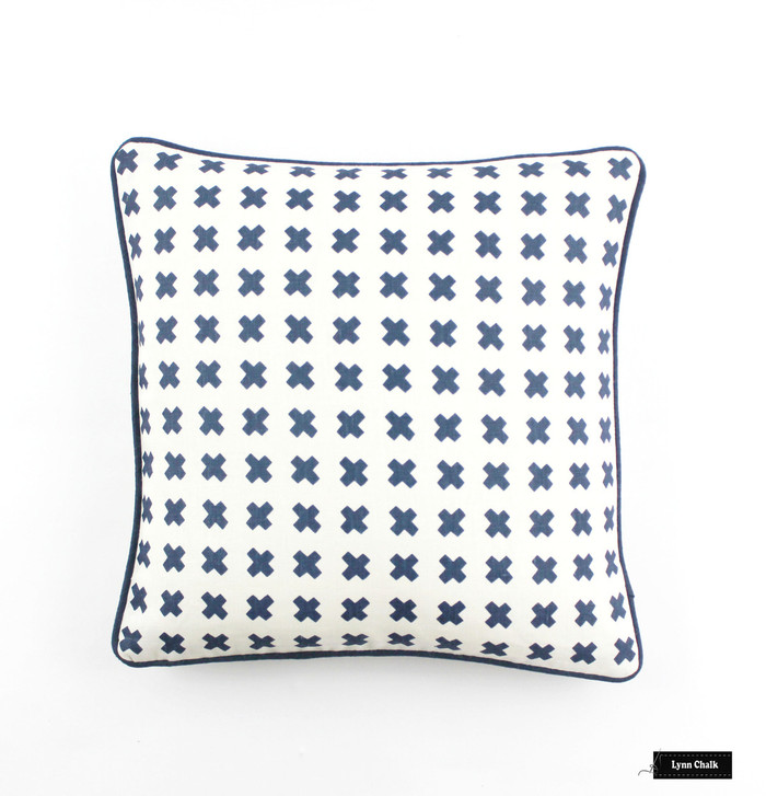Quadrille China Seas Cross Check Pillows in Navy on Tint with Navy Welting