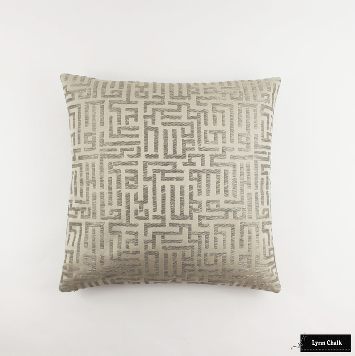 Pillow in Holly Hunt Written in Code Pale Silver 1129 01