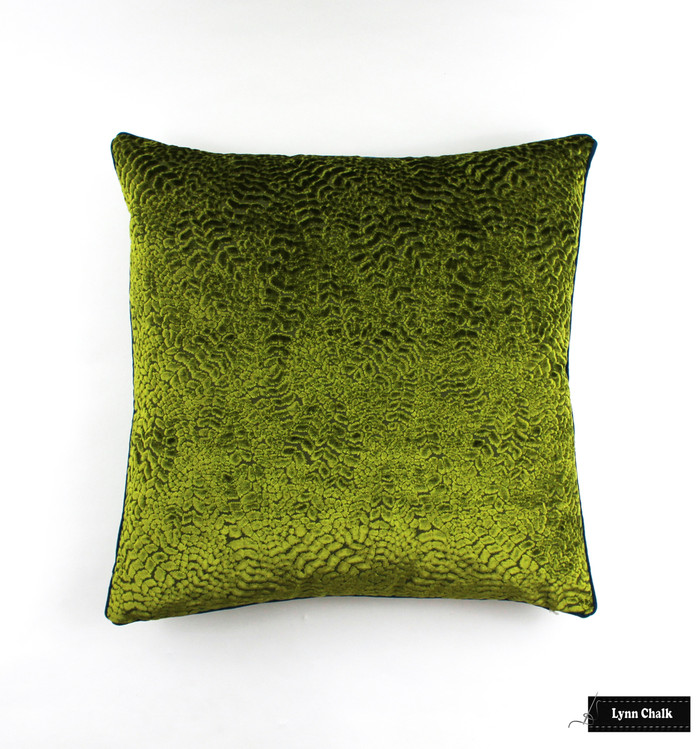 Osborne & Little Nina Campbell Cathay Weaves Lizong in Lime Pillow with Samuel & Sons French Piping in Peacock (20 X 20)