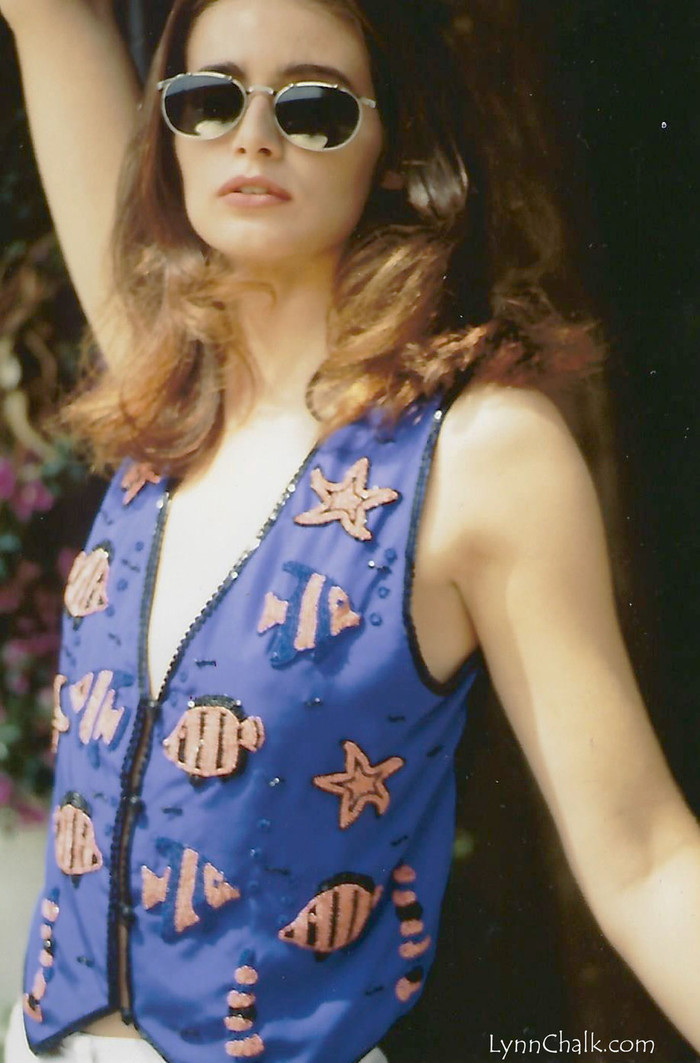 Cobalt Blue Silk Hand Beaded Vest with Fish and Starfish