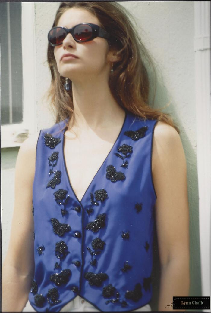 Cobalt Blue Silk Hand Beaded Vest with Butterflies and Flowers