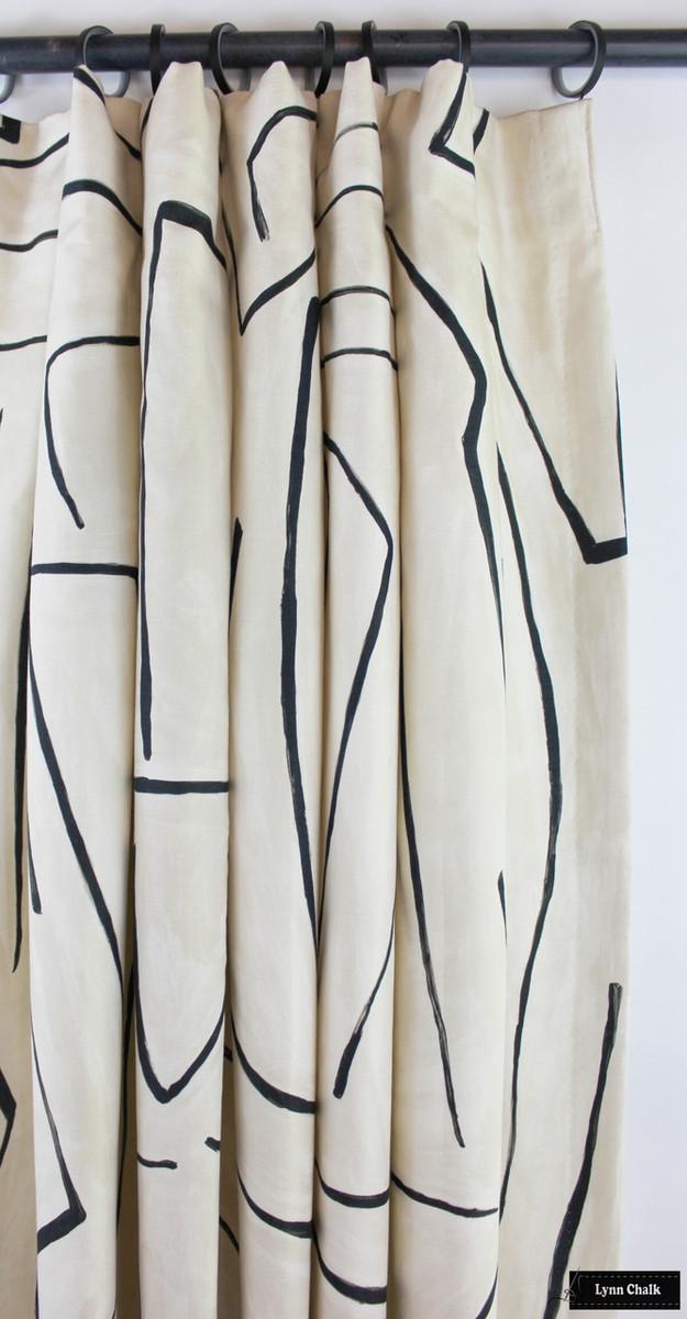 Drapes in Kelly Wearstler Graffito in Linen/Onyx