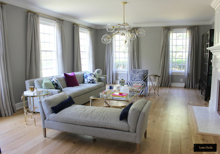 Living Room - Unlined Sheer Custom Drapes with chain hand sewn in hem.  Drapery Hardware by Restoration Hardware.