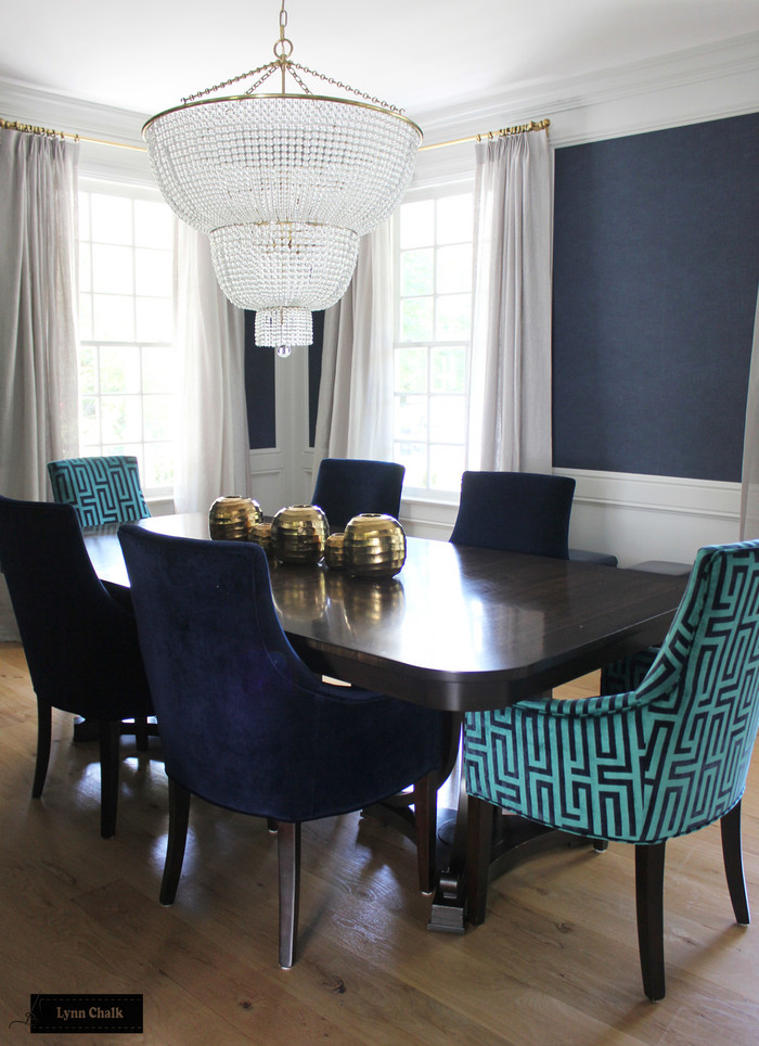 Dining Room - Unlined Sheer Custom Drapes with chain hand sewn in hem.  Drapery Hardware by Restoration Hardware.