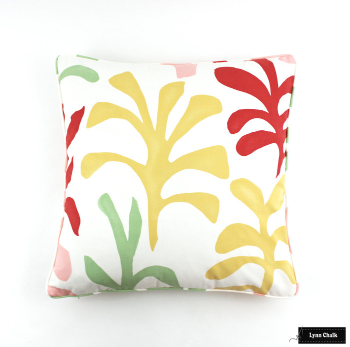 Lulu DK Ode to Matisse Punch Pillows with Self Welting 22 X 22