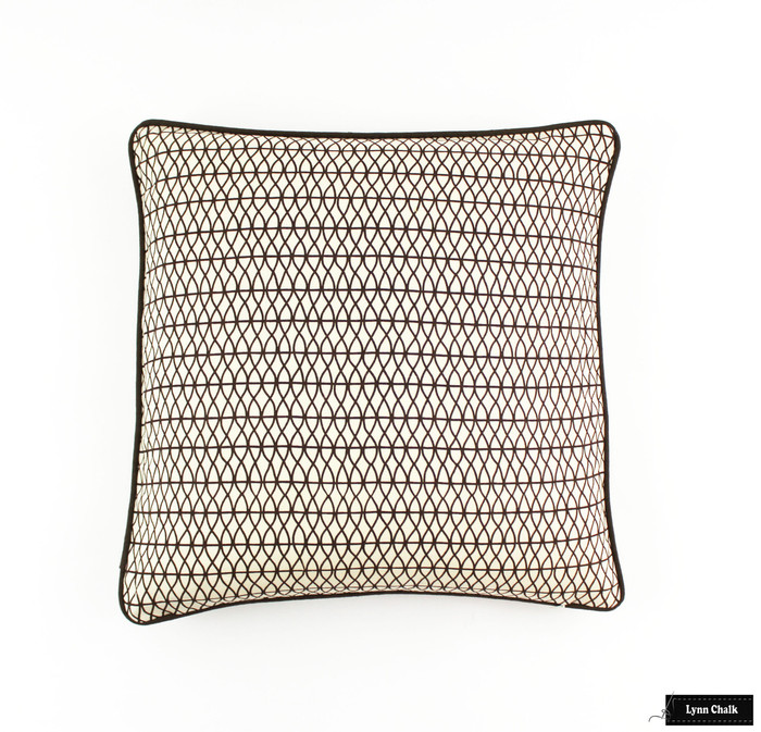 ON SALE Larry Laslo Las Olas Terra (Brown) for Robert Allen Pillows 18 X 18 with Brown Welting FABRIC HAS BEEN DISCONTINUED