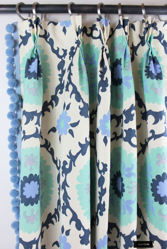 Custom Drapes in Quadrille Suzani Blues on Tint with Samuel & Sons Pom Pom Trim