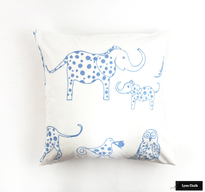 ON SALE Lulu DK for Schumacher Jungle Jubilee Pillows in Sky (20 X 20) Only 2 Pillows Remaining at This Sale Price