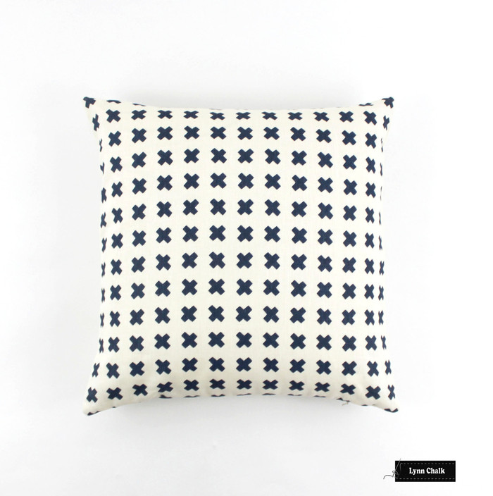 ON SALE Quadrille China Seas Cross Check on Navy Pillows (Both Sides- 20 X 20)