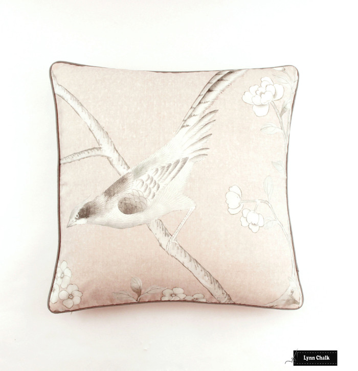 ON SALE Schumacher Mary McDonald Chinois Palais Pillows in Blush Pink with Grey Welting (22 X 22 - fronts only)