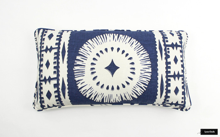 ON SALE Schumacher Mary McDonald Bora Bora Print Pillows in Marine with Self Welting (12 X 22)
