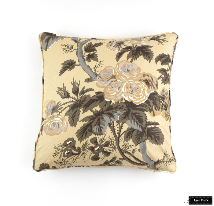 ON SALE Schumacher Pyne Hollyhock Print Pillows in Tobacco with Self Welting (Both Sides-18 X 18)