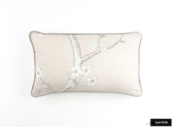 ON SALE Schumacher Mary McDonald Chinois Palais Pillow Blush Conch with Grey Welting (Front Only-14 X 24)