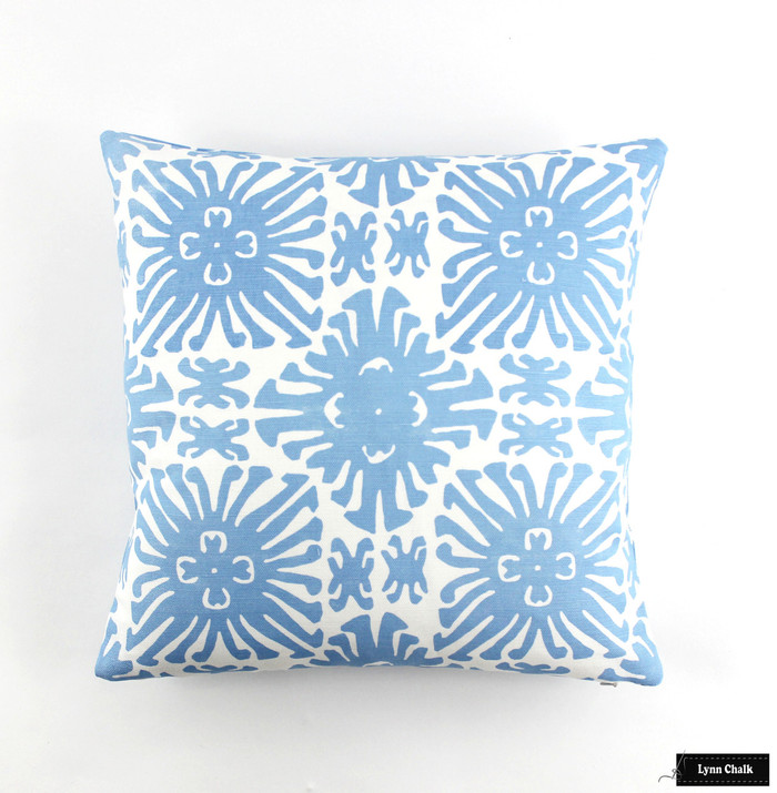 ON SALE Quadrille China Seas Sigourney Small Scale Pillow French Blue on White (Front Only-16 X 16)