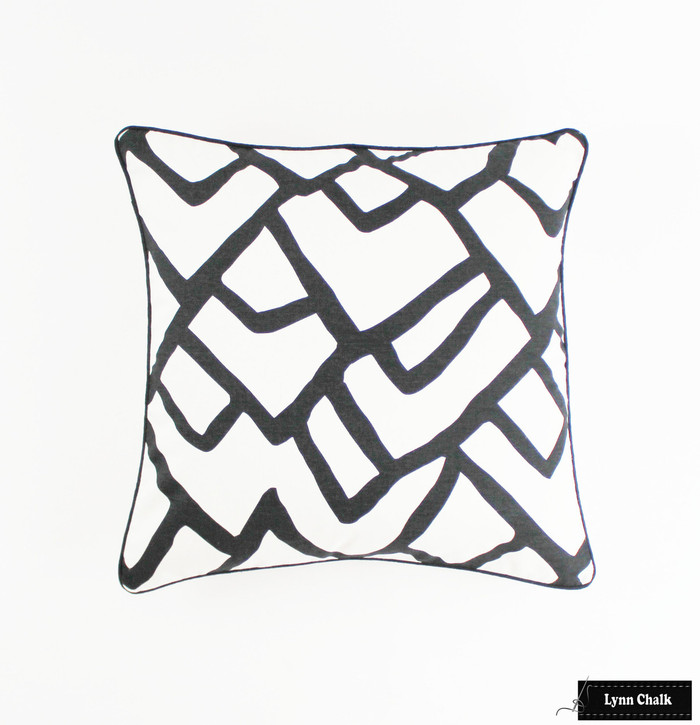 ON SALE Schumacher Zimba in Ebony Pillow with Black Welting (Front Only - 24 X 24)