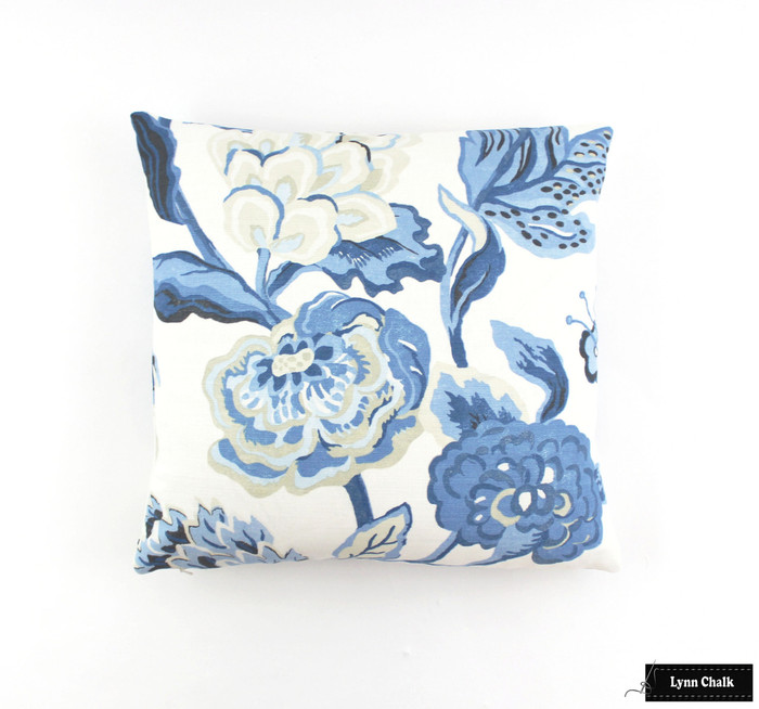 ON SALE Thibaut Navesink Blue and White Pillows (Both Sides-18 X 18)