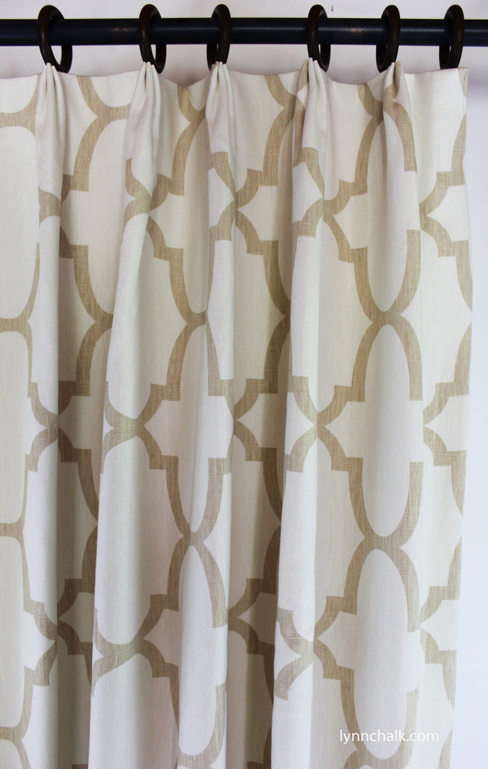 Custom Fan Pleated Drapes by Lynn Chalk in Windsor Smith Riad Beige/Ivory