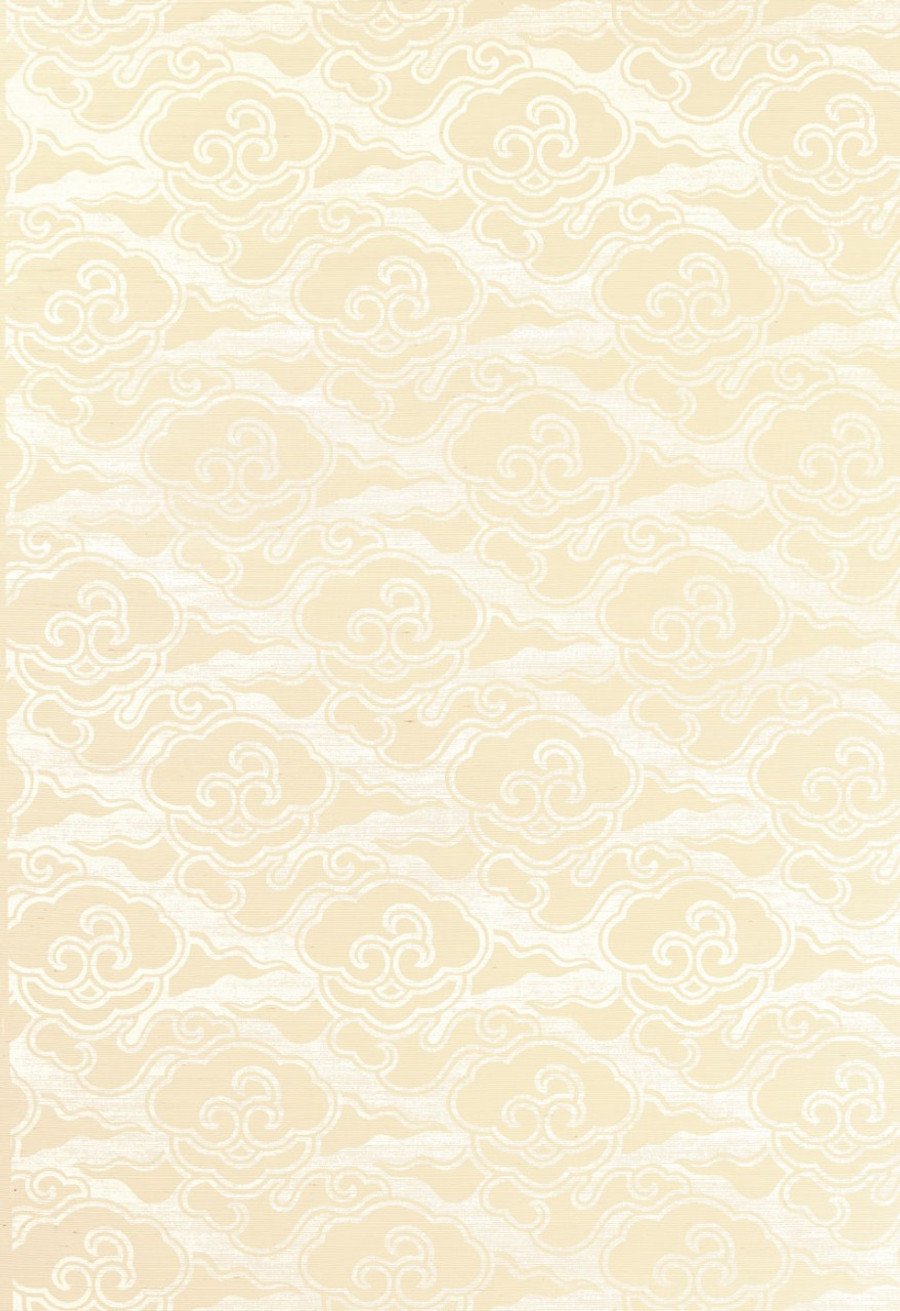 Celerie Kemble for Schumacher Cirrus Clouds Blanched Wallpaper (Priced and Sold by the Yard. 16 Yard Minimum Order)