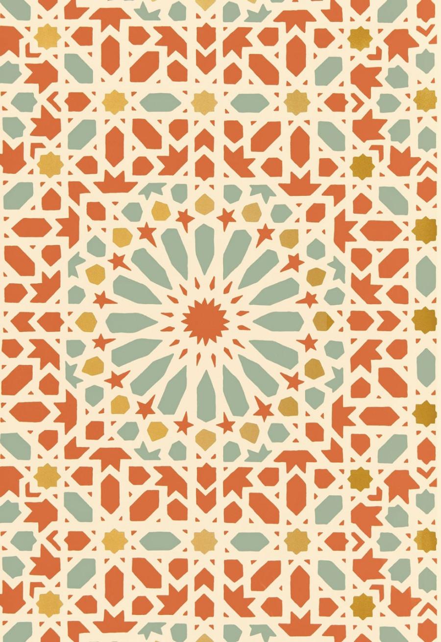 Schumacher Nasrid Palace Mosaic Wallpaper Persimmon 5005962