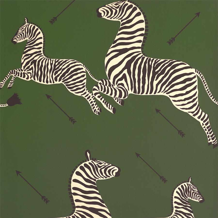 Scalamandre Zebras Wallpaper Seregenti Green - 2 Roll Minimum Order