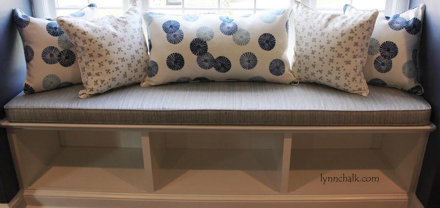 Pillows in Groundworks Kasa Blue and Christopher Farr Pollen in Smoke.  Windowseat Cushion in Schumacher Travertine. (By Lynn Chalk)