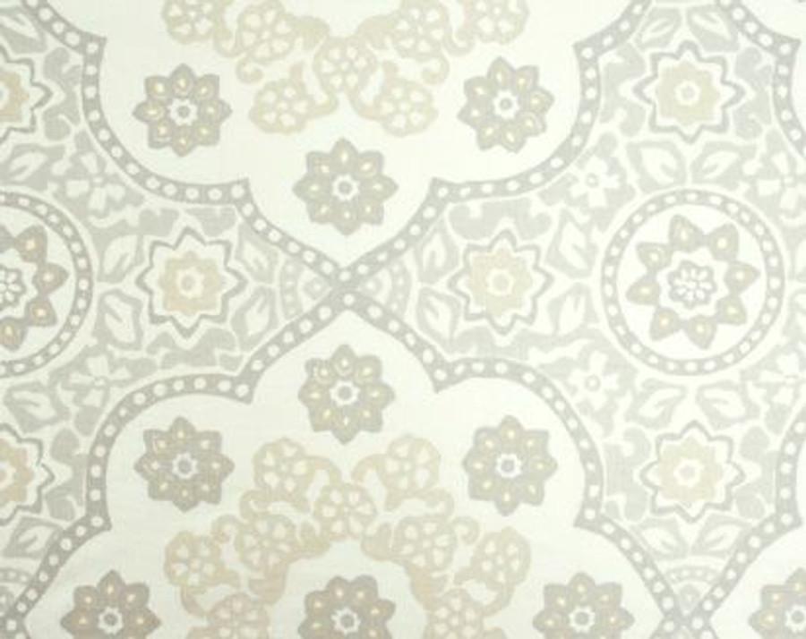 Seville Medallion in Pewter on Upholstery Linen