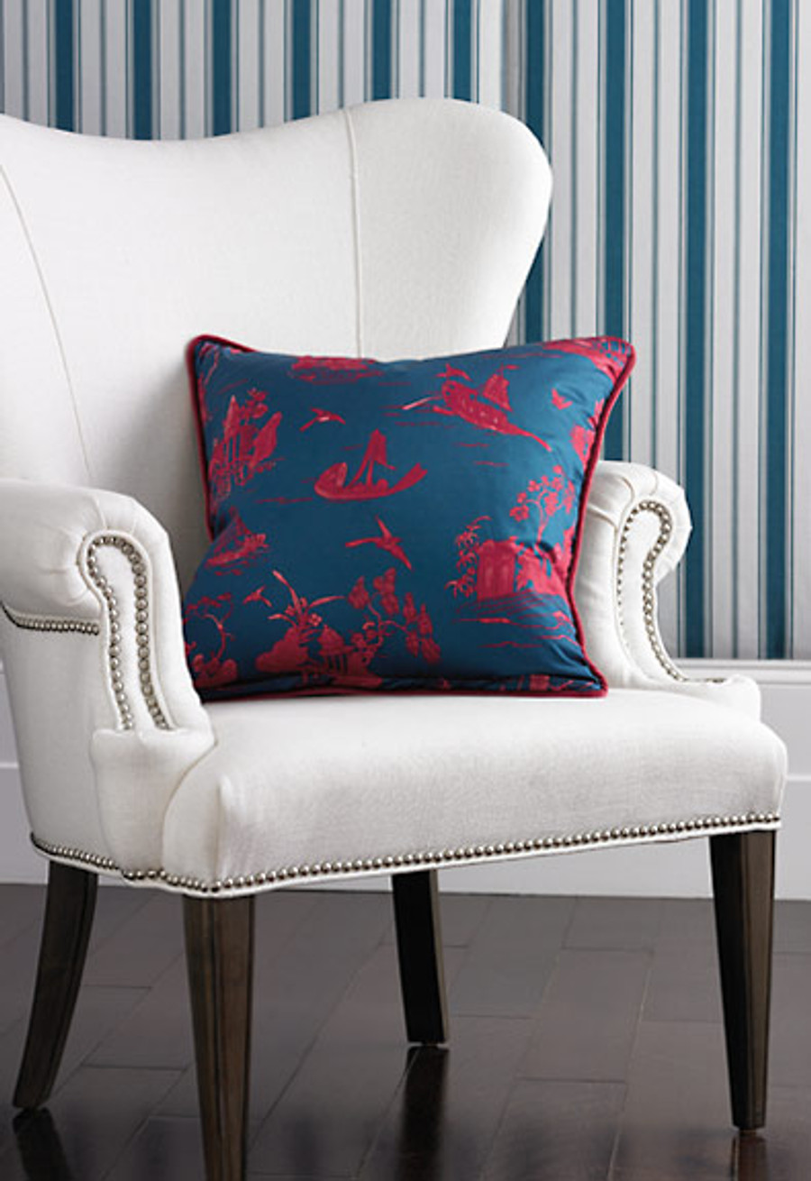 Coromandel in Prussian Blue/Rouge on Pillow