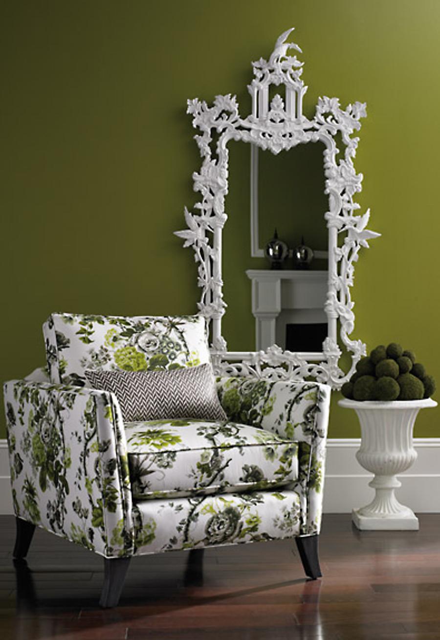 Chair in Alessandra Branca Elizabeth Acid Green/Greige.  Pillow in Sophia Diamond Grey.
