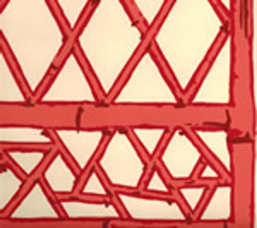 LYFORD TRELLIS BACKGROUND 6020W 04 Beige Tangerine Red Merlot on Cream