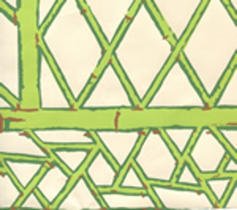 LYFORD TRELLIS BACKGROUND  6020W 09 Lime Forest Green Tobacco on Cream