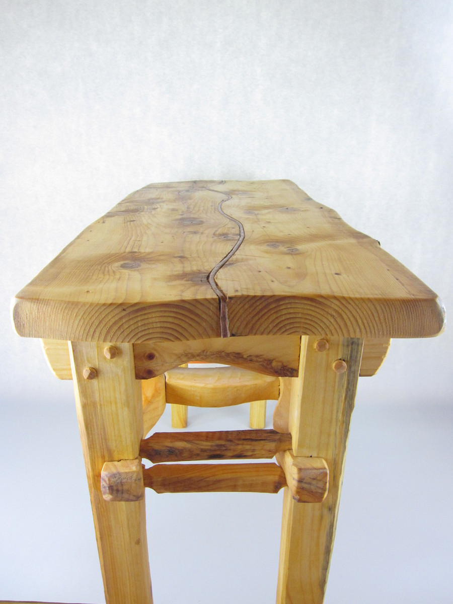 Side View of Top of Table with Copper Inlay