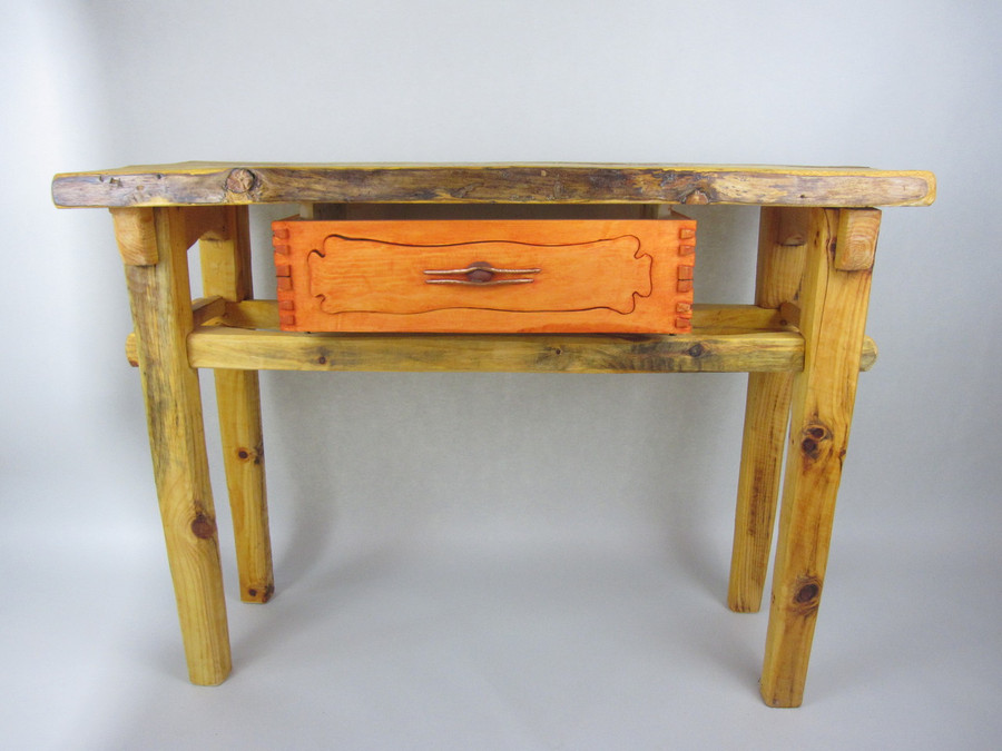 Custom One-Of-A-Kind Pine Table with Suspended Puzzle Drawer and Copper Detailing