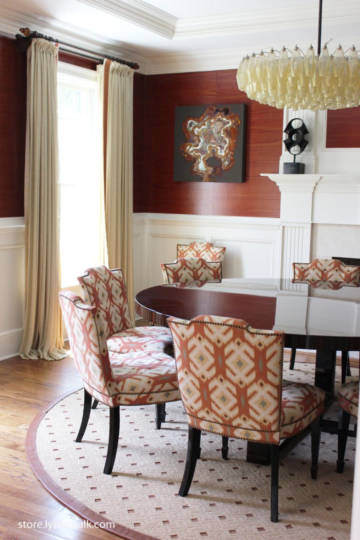 Dining Room - Custom Pleated Drapes by Lynn Chalk with Samuel  & Sons Trim