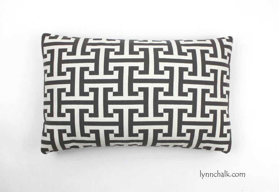 "Custom Pillow by Lynn Chalk in Holly Hunt Insigna Cream/Iron 124/03 (12"" X 20"")"