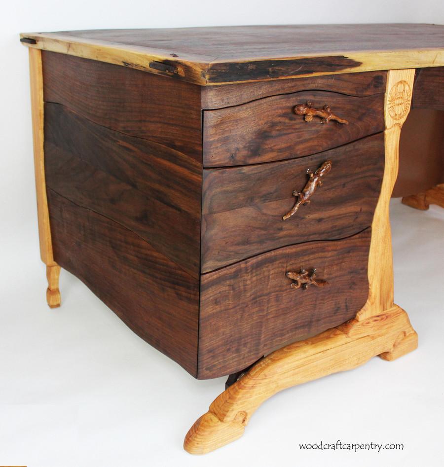 Custom Hand Carved Walnut Desk with Live Edge by Scott Clarke