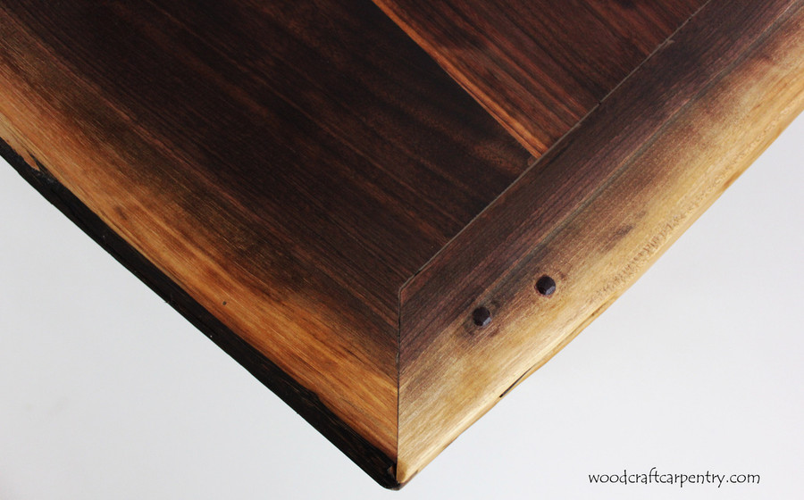Corner of Live Edge Table - Pegged through tenon joinery breadboard ends