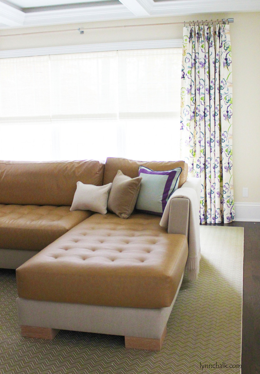 Butterfly Pleated Double Width Drapes in Vervain Santenay Orchid.  Horizon Woven Wood Blinds.