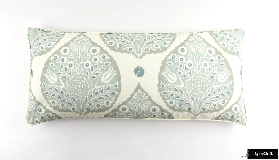 Pillow in Lotus in Mineral 16 X 36 with self welting