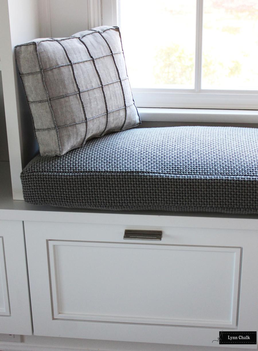 Window Seat Roman Shades in Larsen Danville Smoke.  Cushion in Maharam Monks Wool.   Pillows in Pierre Frey Cube Cendre by Lynn Chalk.