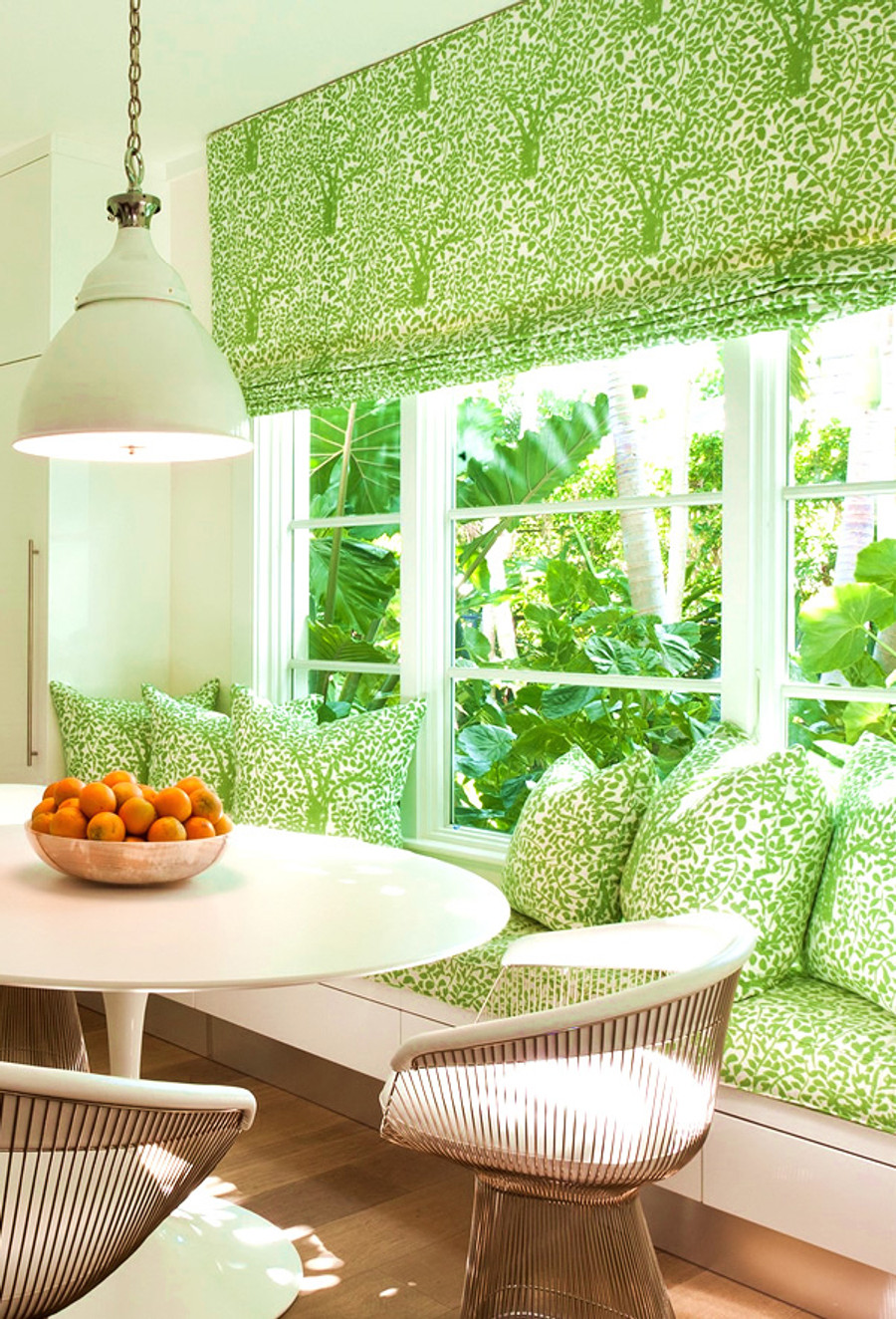 Roman Shade and Pillows in Quadrille Arbre De Matisse  -Jungle Green