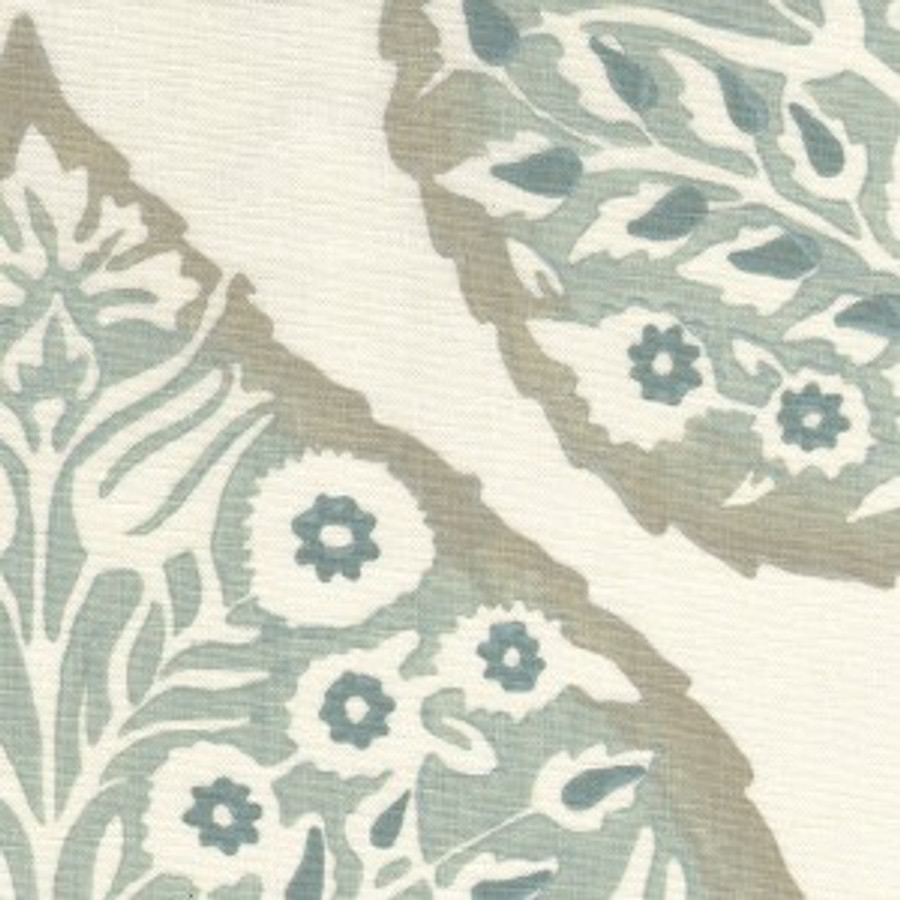 Lotus in Mineral on Cream Linen