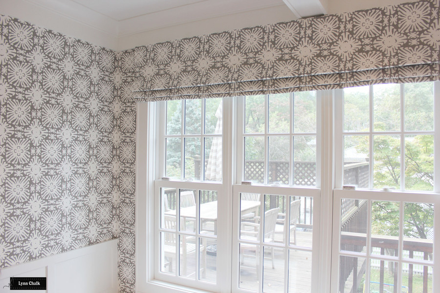 Quadrille Sigourney Reverse Grey on White Small Scale Wallpaper and Matching Roman Shade