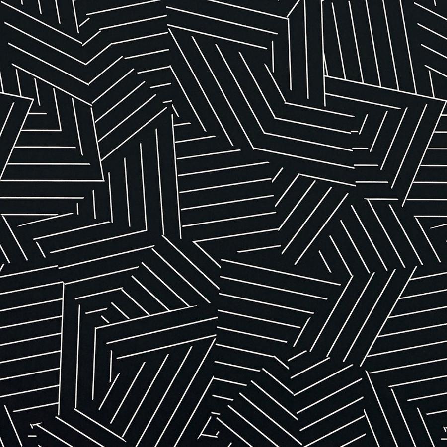 5007974 Deconstructed Stripe Wallpaper Ivory on Black
